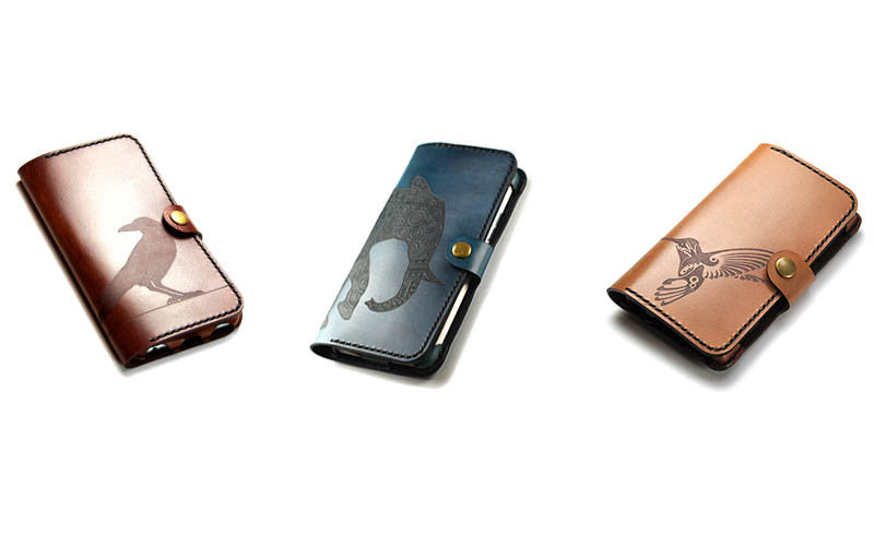 Hand and Hide Leather Phone Wallets with Laser Engravings