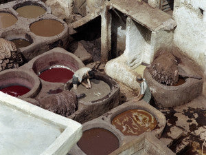 Tannery in Fez, Morocco where they still tan leather like they did centuries ago.
