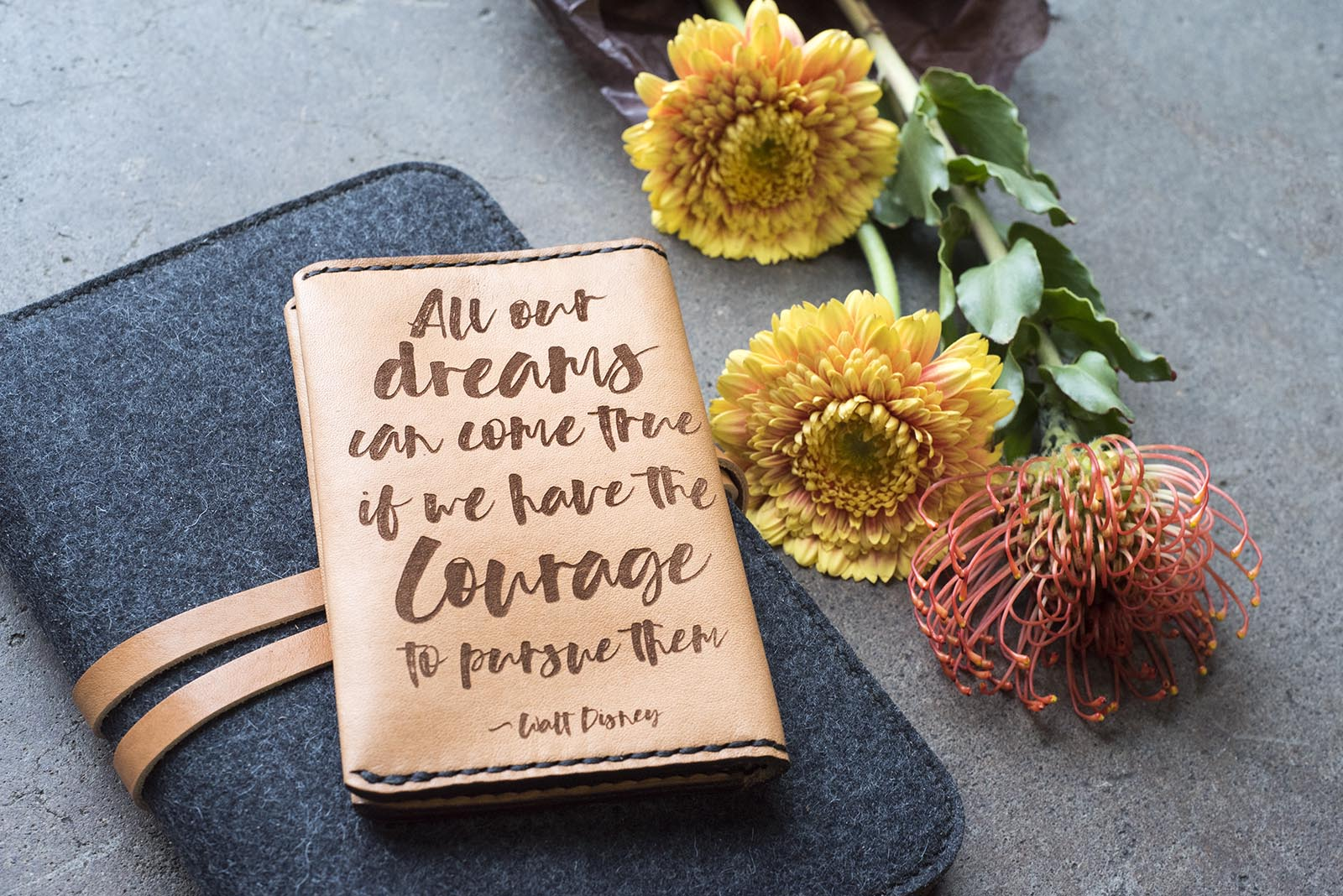 Hand and Hide Custom Leather Journal Covers with Quotes