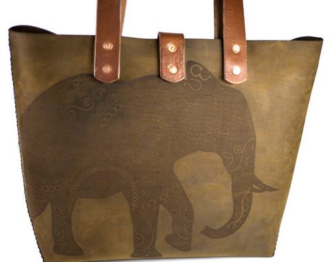 Hand and Hide Leather Tote Bag with Elephant Engraving