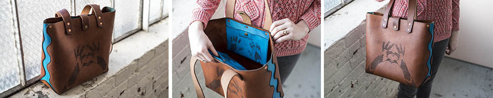 Hand and Hide Henna Love Leather Tote Bag