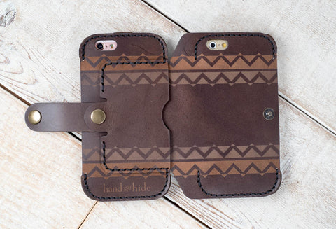 hand and hide dual cell phone carrying case leather case with engraved design