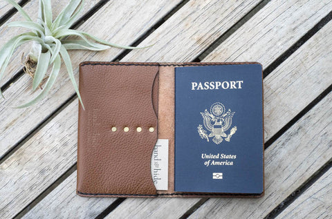 Hand and Hide Leather Passport Wallet for Travel