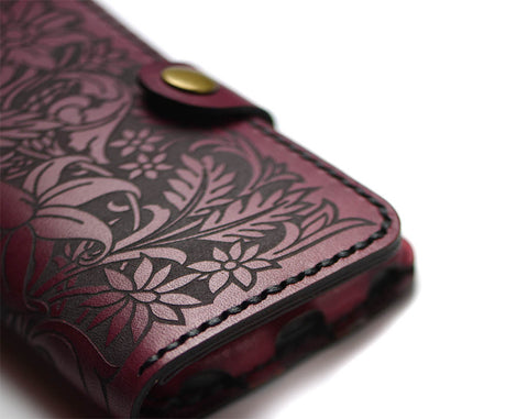 Hand and Hide Leather Phone Wallet with floral engraving