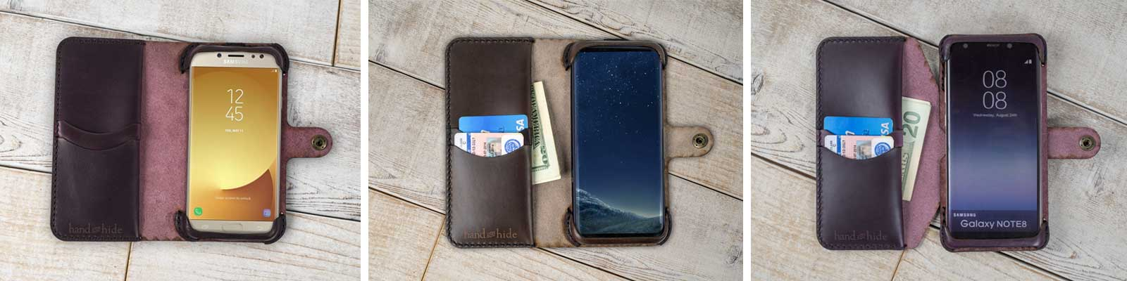 Phone Wallet Cases customized to your specifications, made from genuine Leather