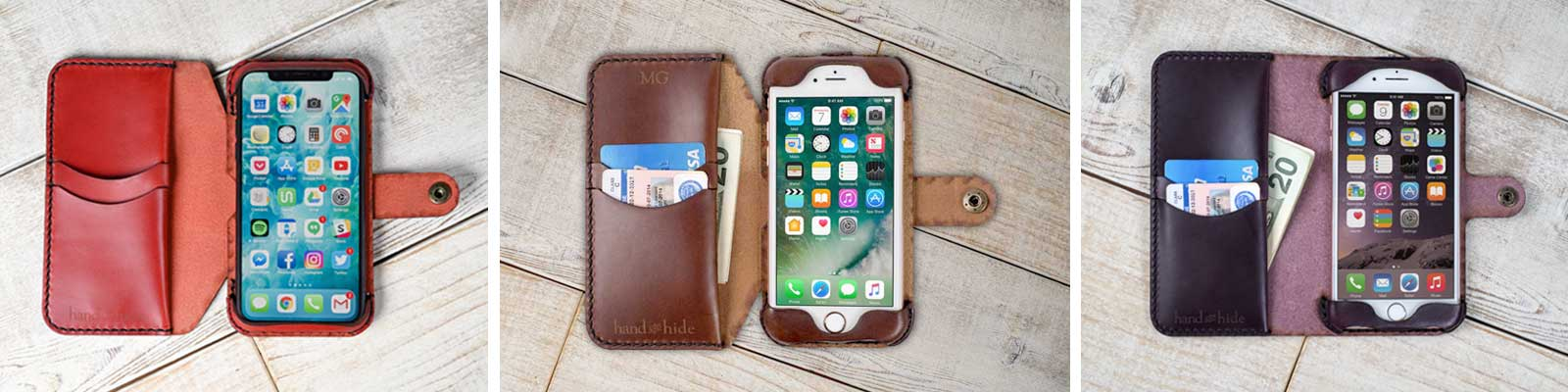 Phone Wallet Cases hand-crafted with care from 100% Leather