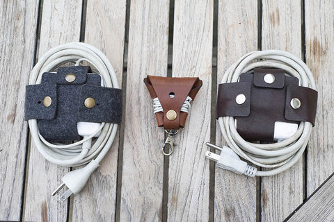Hand and Hide Leather Cord Wrap Organizers
