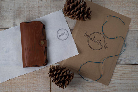Hand and Hide New Leather Phone Wallet Packaging for the Holidays