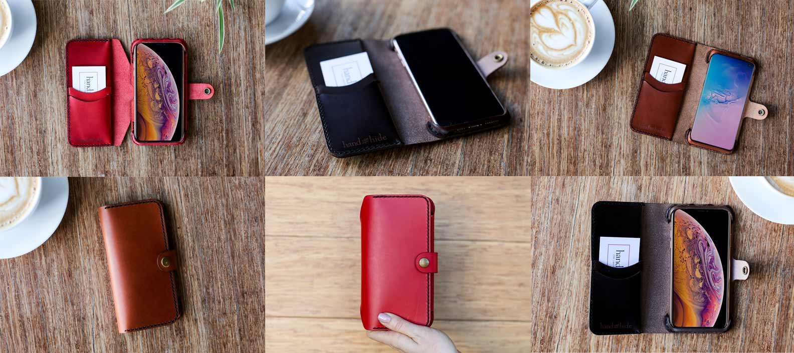 Custom leather phone wallets in a variety of styles and colors