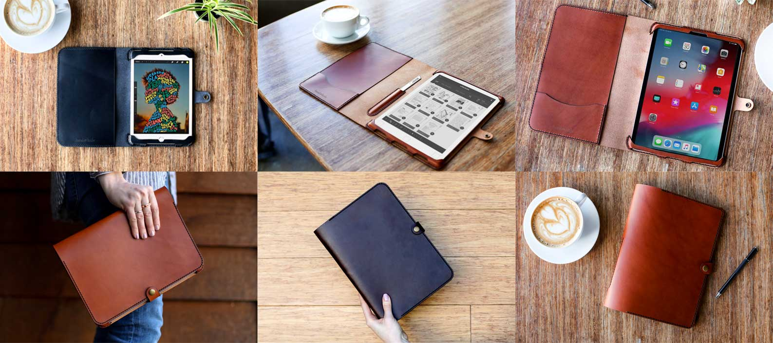 Hand and Hide tablets Case Made from Real Leather in a variety of colors and styles
