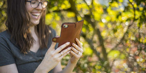 full-leather phone wallet case in chestnut brown