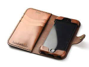 iPod Touch 5th or 6th Gen Leather Wallet Case - Free Inscription - Hand and Hide LLC  - 1