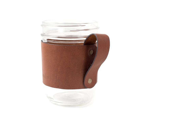 Hand and Hide Leather Goods Handmade Leather Mason Jar Handle in Honey Brown