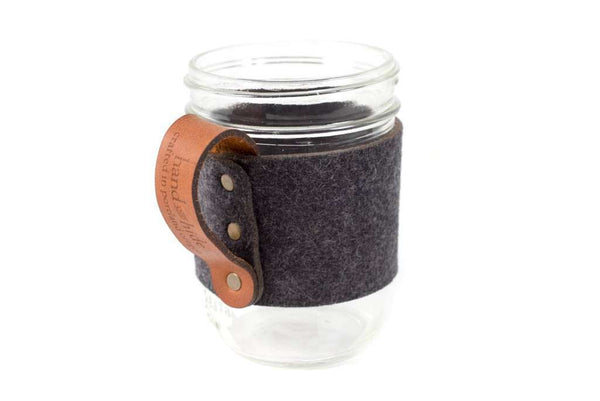 Hand and Hide leather Felt Mason Jar Handle