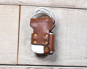 hand and hide brown leather ipad charger wrap