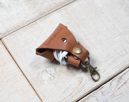 Hand and Hide leather Earbud Wrap Case