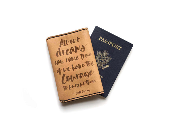 Hand and Hide leather Passport Cover with Quotes