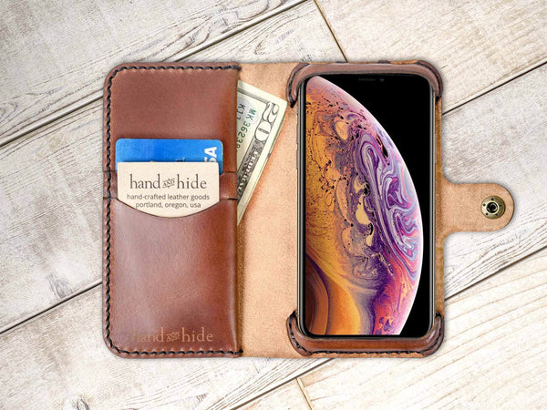 Hand and Hide leather Apple iPhone XR Custom Wallet Case