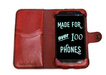 Droid MAXX / Droid Ultra Leather Wallet Case - No Plastic - Free Inscription - Hand and Hide LLC  - 1