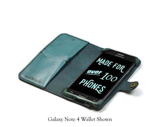Galaxy Grand Prime Leather Wallet Case - No Plastic - Free Inscription - Hand and Hide LLC  - 1