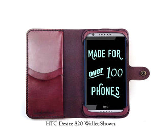 HTC Desire 816 Leather Wallet Case - No Plastic - Free Inscription - Hand and Hide LLC  - 1