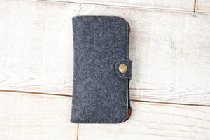 iPhone 7, 8, SE 2020 Classic Wallet Case  | Felt & Leather
