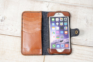 Hand and Hide iPhone 7, 8, SE 2020 Classic Wallet Case  | Felt & Leather