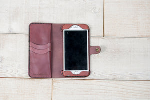 Hand and Hide iPhone 7 Plus or 8 Plus Leather Phone Wallet | Muted Purple