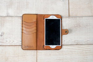iPhone 7 Plus or 8 Plus Leather Phone Wallet | English Tan
