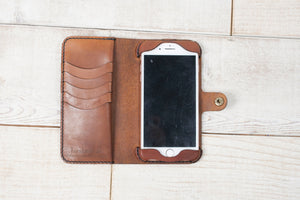 iPhone 7 Plus or 8 Plus Leather Phone Wallet | Chestnut