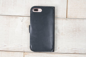 iPhone 7 Plus or 8 Plus Leather Phone Wallet | Black