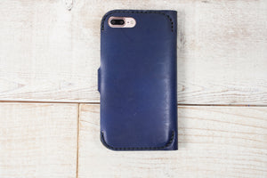 iPhone 7 Plus or 8 Plus Leather Phone Wallet | Light Navy Blue
