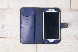 Hand and Hide iPhone 7 Plus or 8 Plus Leather Phone Wallet | Light Navy Blue