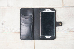 Hand and Hide iPhone 7 Plus or 8 Plus Leather Phone Wallet | Black