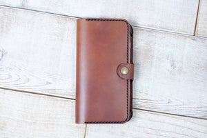 Hand and Hide iPhone 7 Plus or 8 Plus Leather Phone Wallet | Chestnut