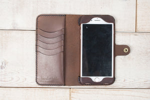 Hand and Hide iPhone 7 Plus or 8 Plus Leather Phone Wallet | Dark Chocolate