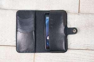 Hand and Hide Leather Phone Pouch Wallet | Black