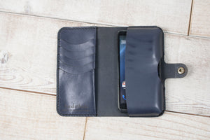 Hand and Hide Leather Phone Pouch Wallet | Charcoal