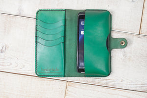 Hand and Hide Leather Phone Pouch Wallet | Green