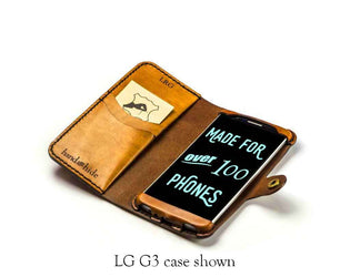 LG G Pro 2 Leather Wallet Case - No Plastic - Free Inscription - Hand and Hide LLC  - 1