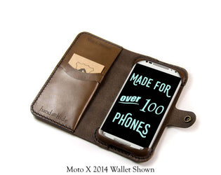 Moto G 2014 (2nd Gen) Leather Wallet Case - No Plastic - Free Inscription - Hand and Hide LLC  - 1