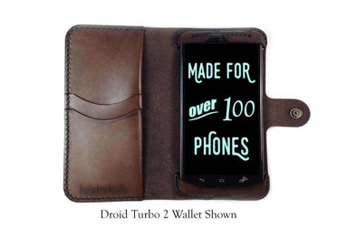Motorola Droid Turbo Leather Wallet Case - No Plastic - Free Inscription - Hand and Hide LLC  - 1