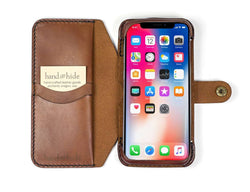Hand and Hide iPhone X Flex Leather Phone Wallet in Chestnut