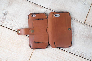 Dual iPhone 7 or 8 and iPhone 6 Leather Phone Case | Chestnut