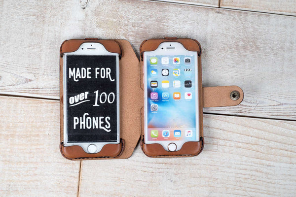 Hand and Hide Dual iPhone 7 or 8 and iPhone 6 Leather Phone Case | Chestnut