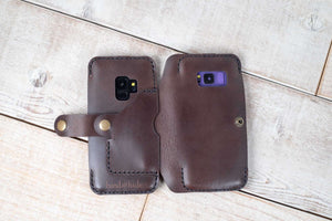 Dual Galaxy S9 & Galaxy S8 Leather Phone Case | Dark Chocolate