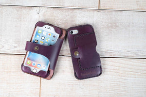 Dual iPhone 7 or 8 Leather Phone Case | Violet