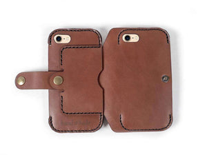 Dual iPhone 7 or 8 Leather Phone Case | Chestnut