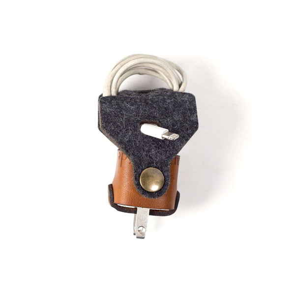 Hand and Hide leather Felt iPhone Charger Wrap