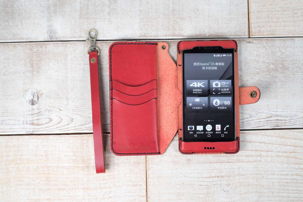 Hand and Hide leather Xperia XZ Premium Flex Wallet Case | Red